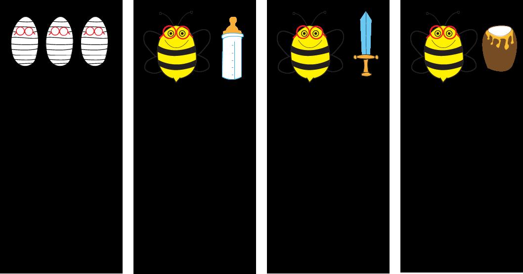 Larva, huevo, nodrizas, constructoras y pecoreadoras